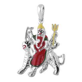 Goddes Durga On Lion Silver Pendant-PD169