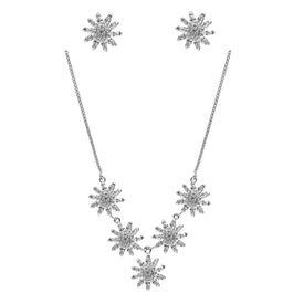 Gleaming Flower Zircon Silver Necklace Set-NS004
