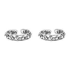 Cutout Silver Toe Ring- TR349
