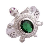 Green Stone Turtle Unisex Ring-FRL177, 20