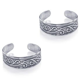 Oxidise Crafted Silver Toe Ring-TR454