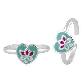 Blue Heart Flower Silver Toe Ring-TR383