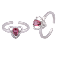 Heart Stone Silver Toe Rings-TRMX119