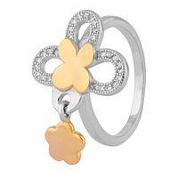 Flower Design Hanging Charm Ring-FRL122, 12