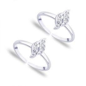 Curvy Zircon Silver Toe Ring-TR124