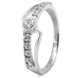 Classy White CZ Silver Finger Ring-FRL093