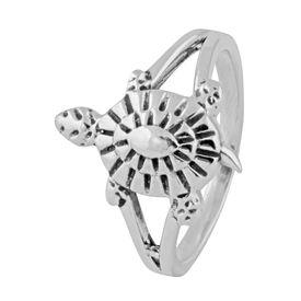 Tortoise Sterling Silver Finger Ring-FRL141