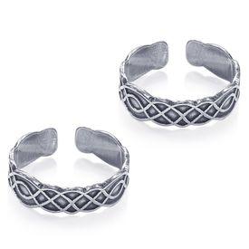 Curvy Oxidised Silver Toe Ring-TR458