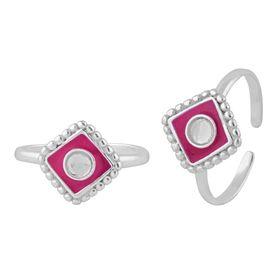 Geomatric Enamel Silver Toe Ring-TR397