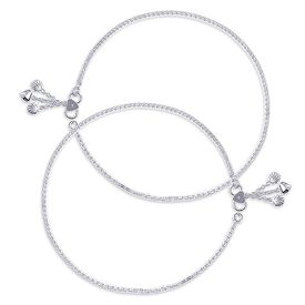 Elegant Box Silver Anklets-ANK076