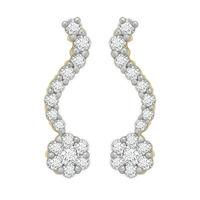 Single Row Diamond Earrings- BAER0771, si - ijk, 14 kt