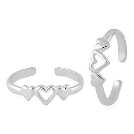 Triple Heart Silver Toe Ring-TR406