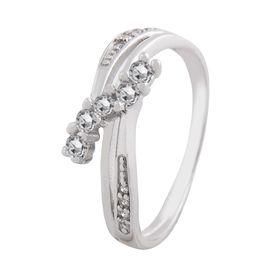 Shiny White CZ Silver Finger Ring-FRL011, 14