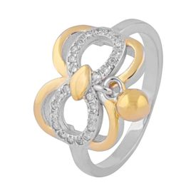 Butterfly Two Tone Hanging Zircon Ring-FRL124