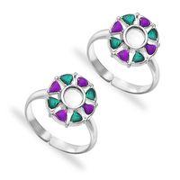 Multicolor Enamel Silver Toe Ring-TR424