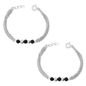 Silver White & Black Beads Kids Bracelet- BRNZ010