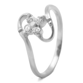 Marvelous White CZ Silver Finger Ring-FRL091