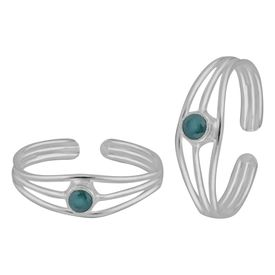 White Zircon Sterling Silver Toe Ring-TRMX048