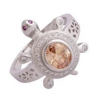 Peach Stone Turle Unisex Ring-FRL180, 25