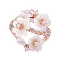 Flower Mesh Silver Ring-FRL133, 15