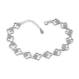 Glitter Flower Zircon Silver Bracelete- BR024