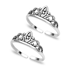 Crown Silver Toe Ring-TR142