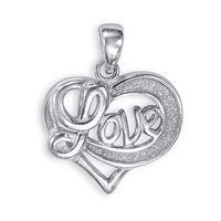 Flattering Heart Love Silver Pendant-PD171