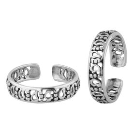 Cutout Meshed Silver Toe Ring-TR384