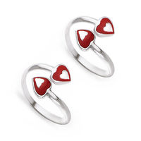 Red Duo Silver Toe Ring-TR404