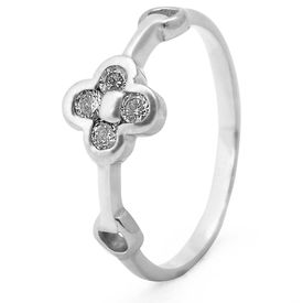 Lovely White Zircon Silver Finger Ring-FRL089