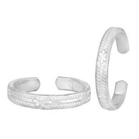 Floret Graving Silver Toe Ring-TRRD032