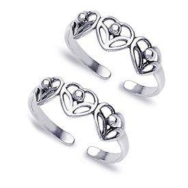 Cutwork Heart Silver Toe Ring-TR141
