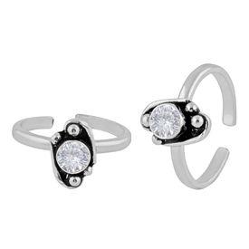 Fab White Zircon Silver Toe Ring-TRMX050