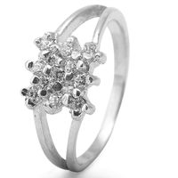 Graceful White Zircon Silver Finger Ring-FRL092, 12