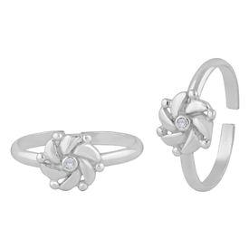 Majestic Flower Zircon Silver Toe Ring-TR402