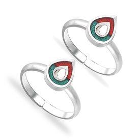 Kundan Pear Drop Silver Toe Ring-TR423