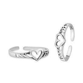 Heart & Cut Work Silver Toe Ring-TR372