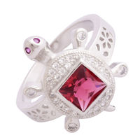 Red Stone Turtle Unisex Ring-FRL176, 24