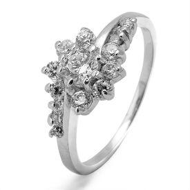 Stunning Flower CZ Silver Ring-FRL094