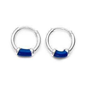 Blue Silver Hoops-ER061