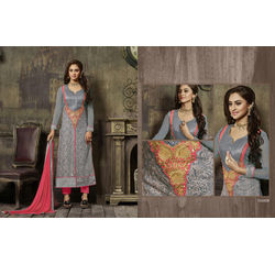 Crystal Collection Salwar Suit Semi Stitched Grey, grey, georgette