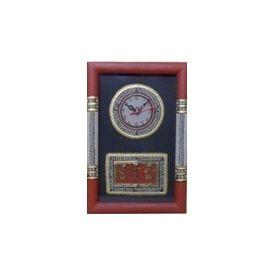 Aakriti Arts Handpainted Wall Clock with Dhokra and Warli work 15x10 G inch, black maroon, 15x10  g