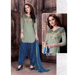 Patiala Dress Material Unstitched, cotton, green