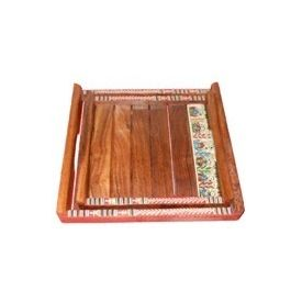 Aakriti Arts Wooden Sheesham Wood Trays - 02, wooden brown, 10x10&8x8