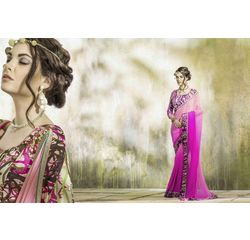Mannat Collection Printed Georgette Sarees Pink, pink, georgette, printed