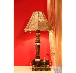 Aakriti Arts Handpainted L shape Wooden Lamp 12 inch with 10 inch Dori Shade, jute color, 12