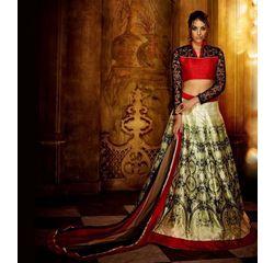 Klaur Collection Designer Lehengas Off White, off white, bangalore silk