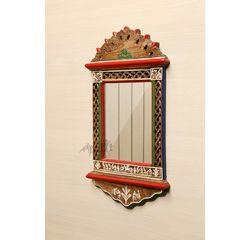 Aakriti Arts Handcrafted Wooden Mirror 22x12 iinch, wooden brown, 22x12