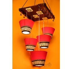 Aakriti Arts Lamp Shade Light Hanging Red and Gold Set of 6, red/gold