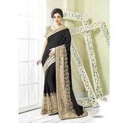 Zeenat Collection Vol 3 Designer Heavy Work Georgette Saree Beige & Black, beige & black, georgette